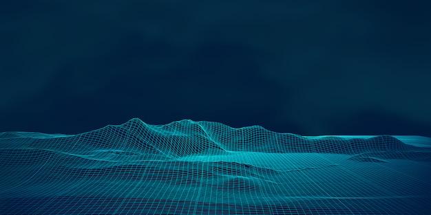 Paesaggio digitale con design wireframe techno