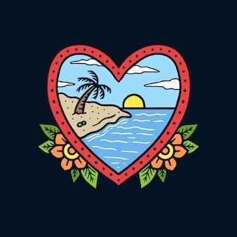 Paesaggio disegnato a mano della spiaggia sull'illustrazione del tatuaggio della vecchia scuola della struttura di forma del cuore