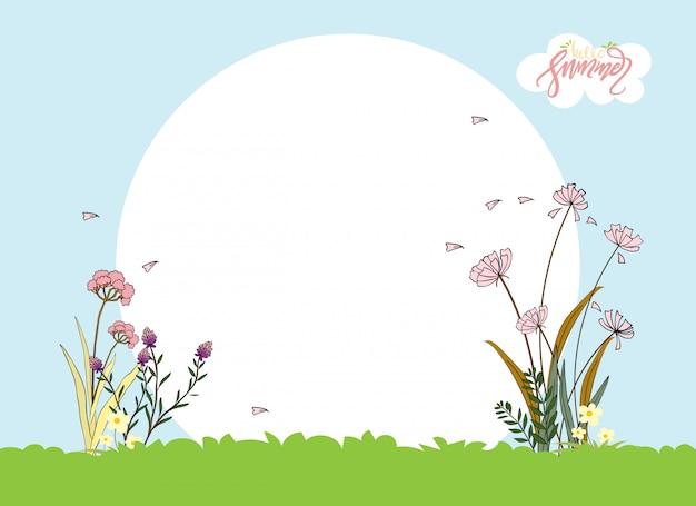 Paesaggio estivo carino cartone animato con copyspace, vector ciao estate con bellissimi fiori rosa