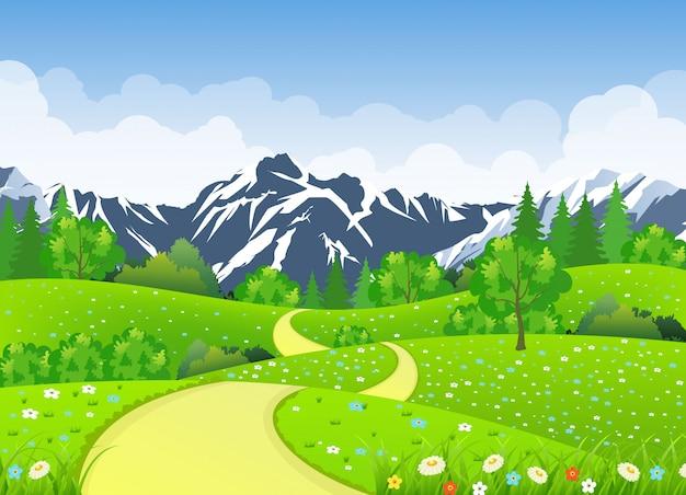Paesaggio estivo con prati e montagne.