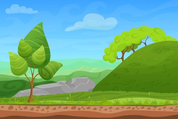 Paesaggio estivo di gioco dei cartoni animati