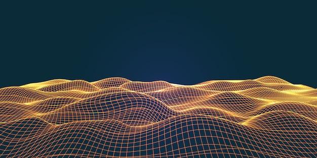 Paesaggio fluente in wireframe con linee di collegamento