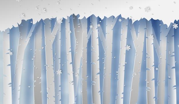 Paesaggio forestale con fiocchi di neve