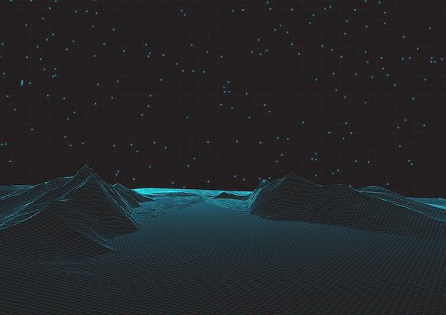 Paesaggio futuristico del wireframe sulla griglia