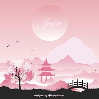 Paesaggio giapponese in toni rosa