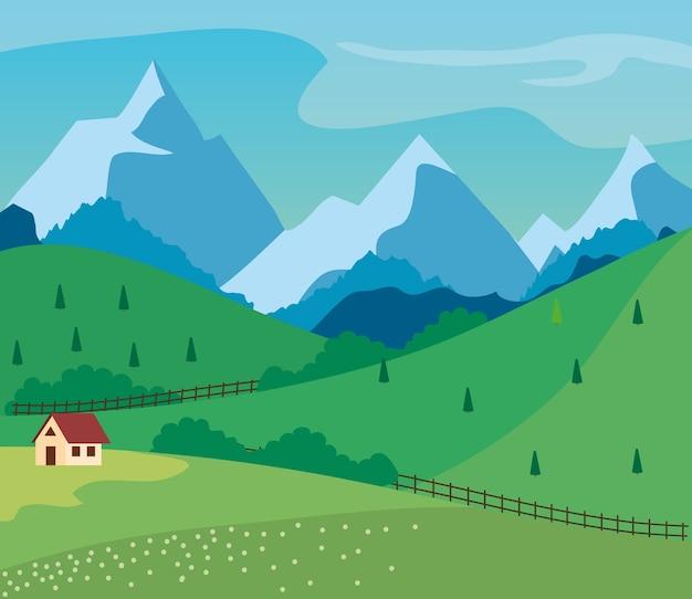 Paesaggio in giornata di sole con casa colonica e colline, campagna panoramica di campo verde.