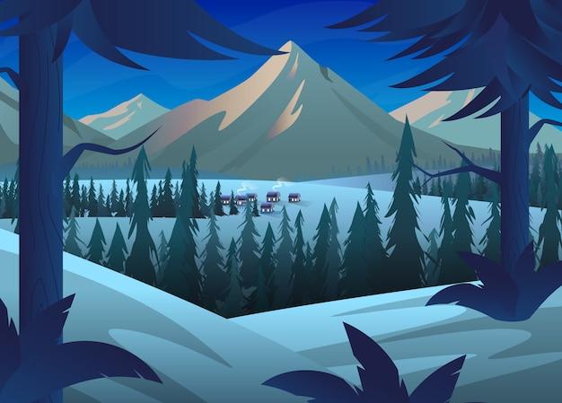 Paesaggio invernale all'alba o al tramonto nei toni del grigio blu. in primo piano e nella foresta