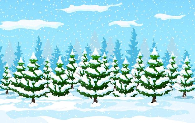 Paesaggio invernale con alberi di pino bianco sulla collina di neve. paesaggio di natale con foresta di abeti e nevica. felice anno nuovo celebrazione. vacanze di natale di capodanno. stile piatto illustrazione vettoriale