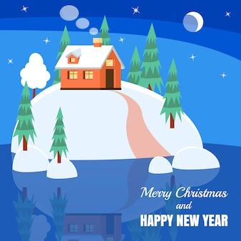 Paesaggio invernale con casa in polvere, alberi, abeti rossi su terra coperta di neve sul lago.