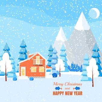 Paesaggio invernale con casa in polvere, alberi e abeti rossi nella foresta sulla terra coperta di neve.