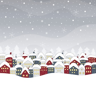 Paesaggio invernale con case e nevicate. disegnato a mano .