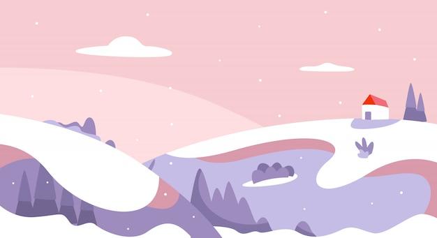 Paesaggio invernale con colline e laghi