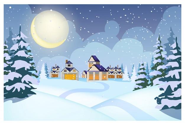 Paesaggio invernale con cottage, cumuli di neve e abeti