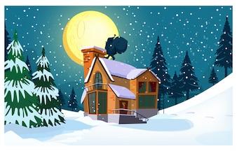 Paesaggio invernale con cottage, luna, sagoma di Babbo Natale