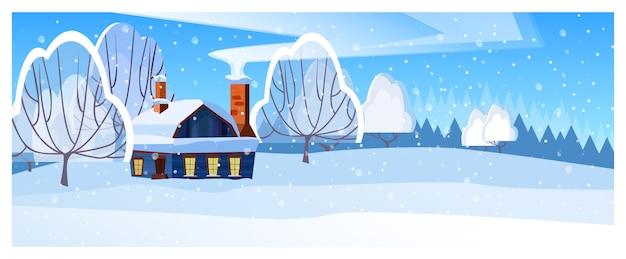 Paesaggio invernale con illustrazione cottage e alberi
