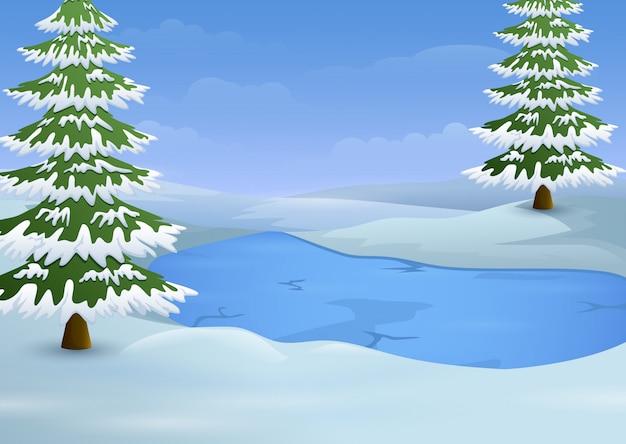 Paesaggio invernale con lago ghiacciato e abeti