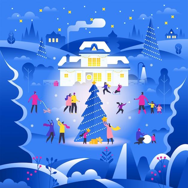 Paesaggio invernale con minuscole persone che camminano sulla strada di periferia e svolgono attività all'aperto.