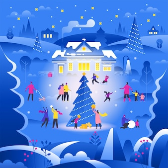 Paesaggio invernale con minuscole persone che camminano sulla strada suburbana e svolgono attività all'aperto,