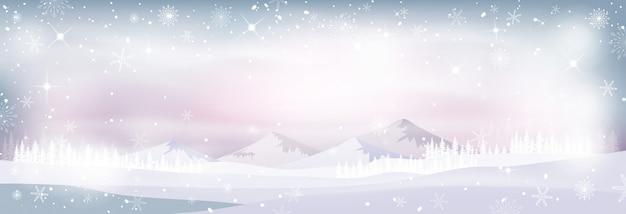 Paesaggio invernale con neve e foresta di pini in tono pastello