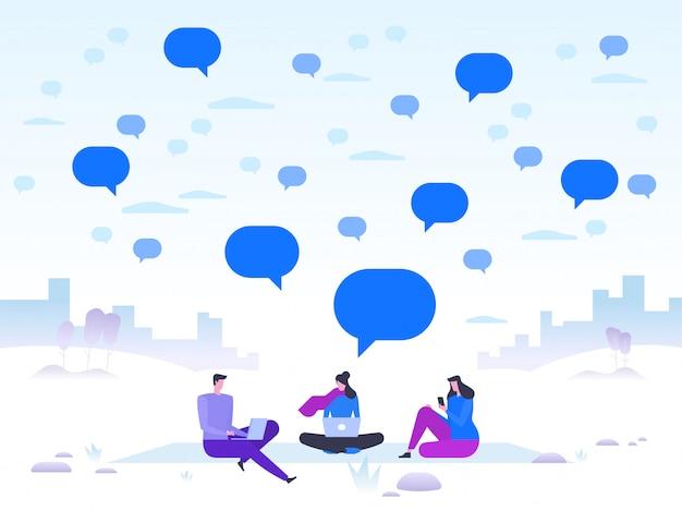 Paesaggio invernale con persone felici con dispositivi