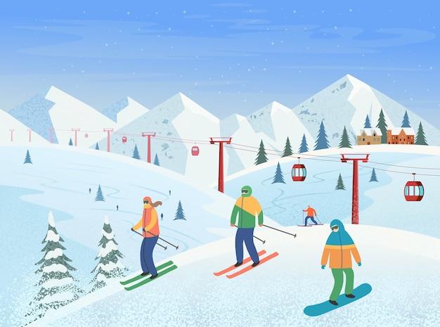 Paesaggio invernale con skilift, montagne, gente che scia, snowboard. stazione sciistica. illustrazione.