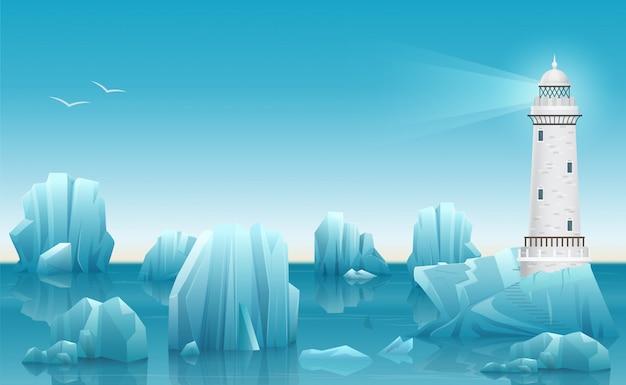 Paesaggio invernale del faro nell'oceano artico di ghiaccio o mare con iceberg.