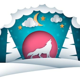 Paesaggio invernale di carta. illustrazione di lupo
