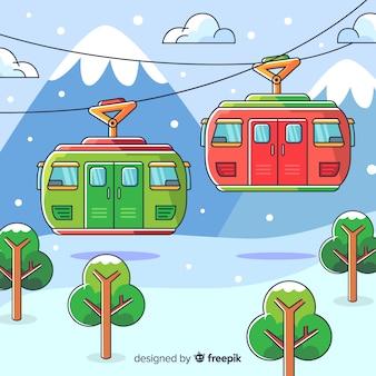 Paesaggio invernale disegnato a mano incantevole