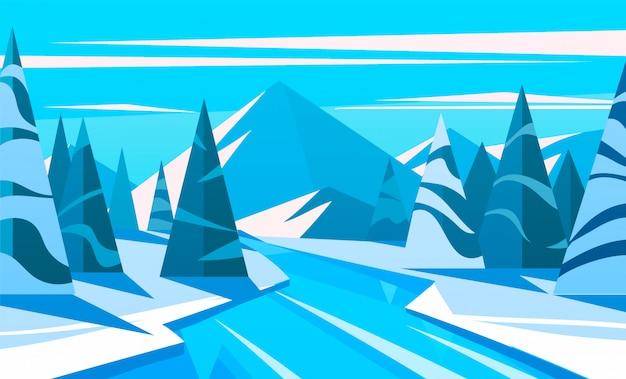 Paesaggio invernale, il fiume scorre attraverso un bosco innevato sullo sfondo delle montagne.
