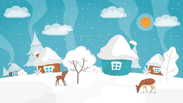 Paesaggio invernale in uno stile piatto. illustrazione di inverno con posto per il testo.