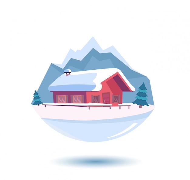 Paesaggio invernale innevato con montagne.