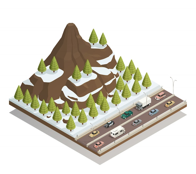 Paesaggio invernale montagne isometrica