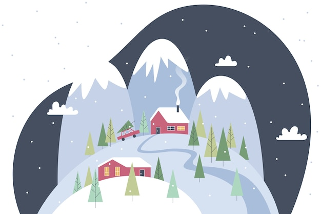 Paesaggio invernale vintage