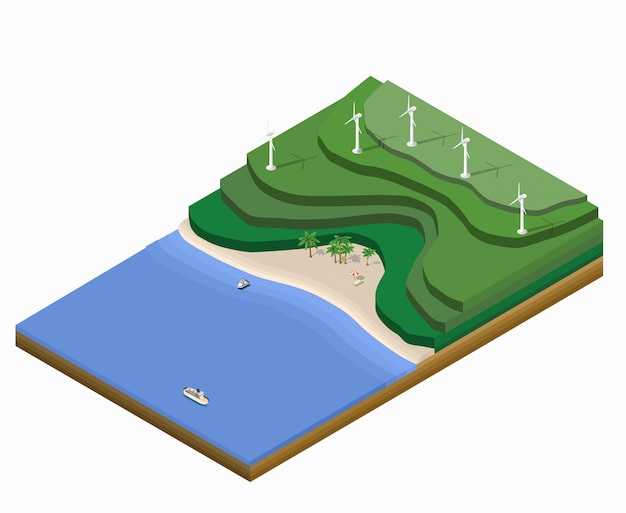 Paesaggio isometrico con montagne, spiaggia
