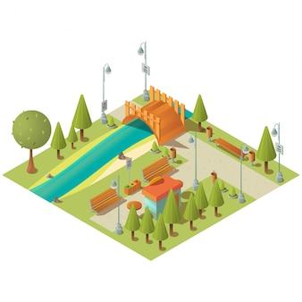 Paesaggio isometrico del parco verde della città con il chiosco degli alimenti a rapida preparazione