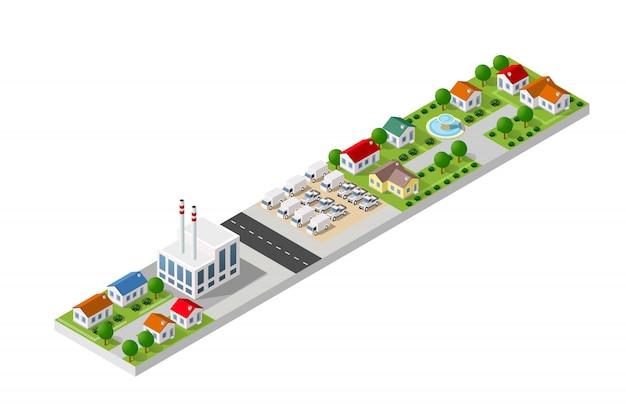 Paesaggio isometrico di una piccola città