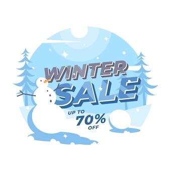 Paesaggio moderno dell'insegna di vendita di inverno