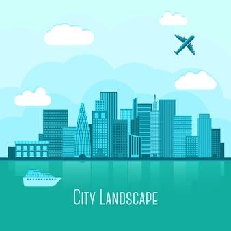 Paesaggio moderno della grande città con la riflessione in acqua