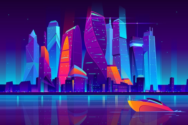 Paesaggio moderno di notte di vettore del fumetto della città di mosca.