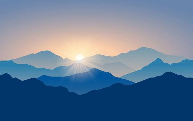 Paesaggio montano a strati con la luce del sole