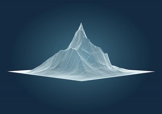 Paesaggio montano con design wireframe dettagliato