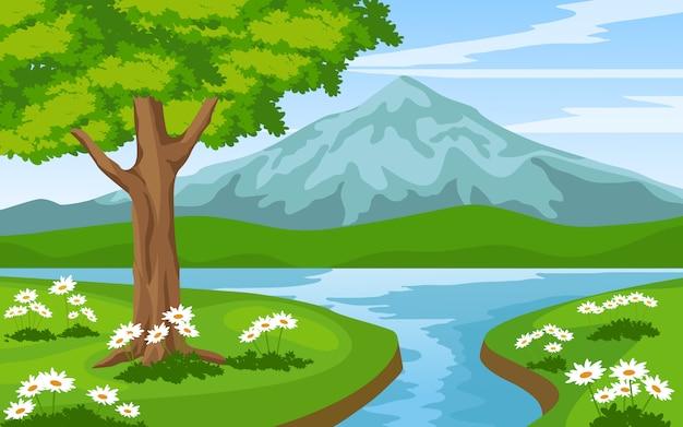 Paesaggio montano con fiume e albero