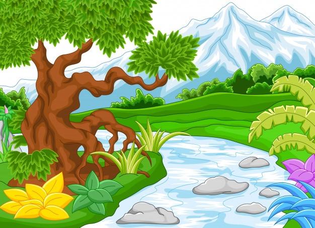 Paesaggio montano con fiume