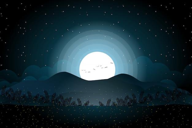 Paesaggio montano con luna piena e foresta di notte