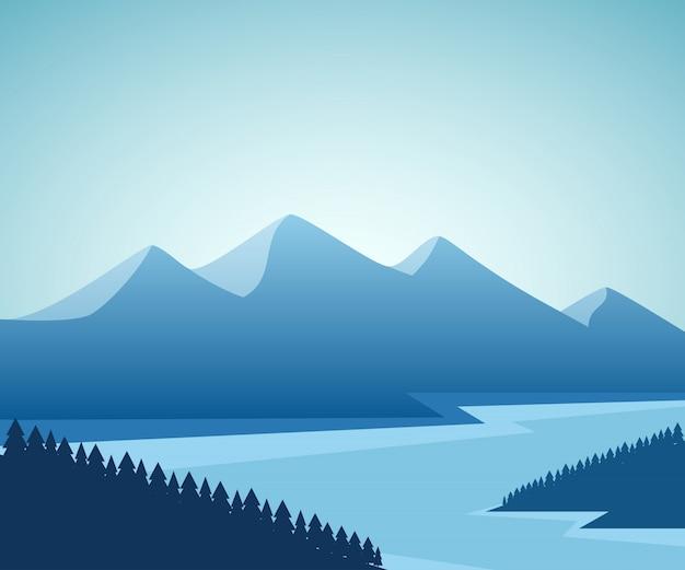Paesaggio montano e lacustre. disegno grafico.