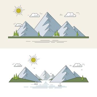 Paesaggio montano in stile piatto lineare.