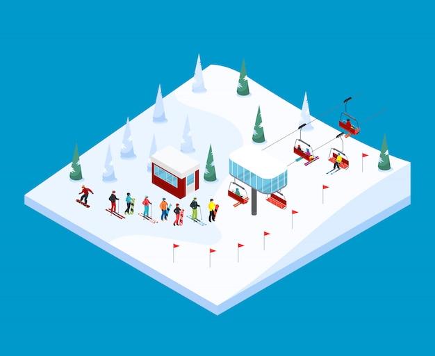 Paesaggio montano isometrica di sci