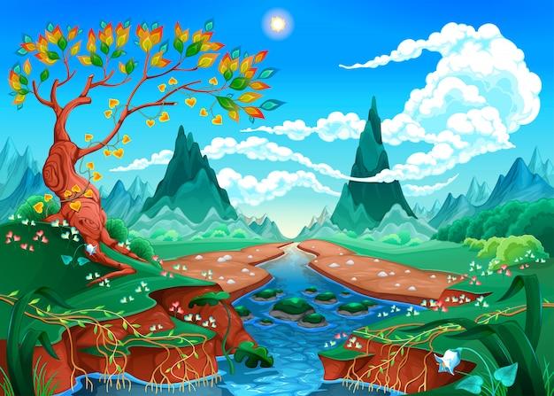 Paesaggio naturale con fiume, albero e montagne