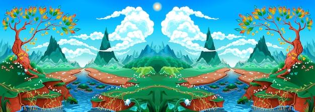 Paesaggio naturale con fiume e montagne