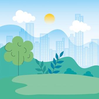 Paesaggio naturale con progettazione urbana dell'illustrazione di scena